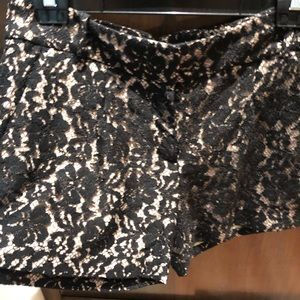 BCBG Lace black shorts with nude lining